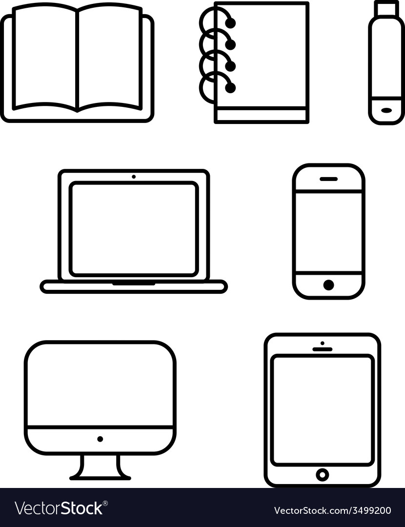 Laptop tablet set icon computer book flash phone vector | Price: 1 Credit (USD $1)