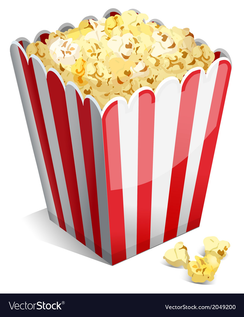 Popcorn in a striped tub vector | Price: 1 Credit (USD $1)