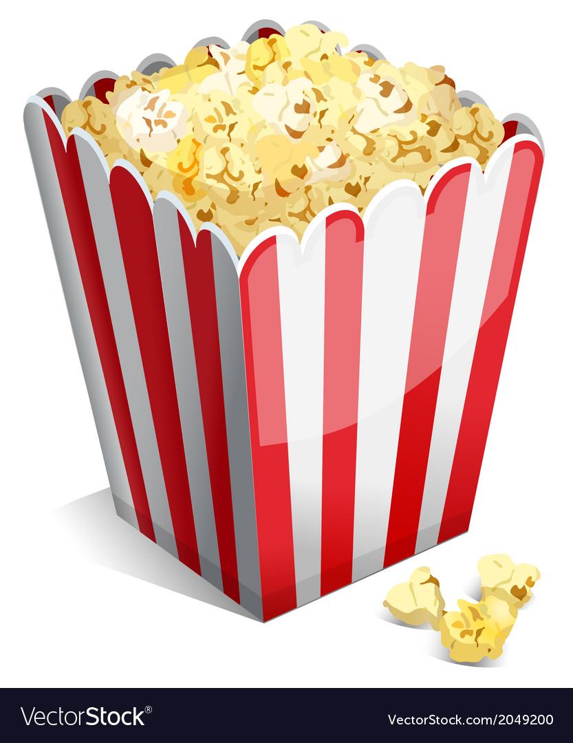 Popcorn in a striped tub vector   Price: 1 Credit (USD $1)