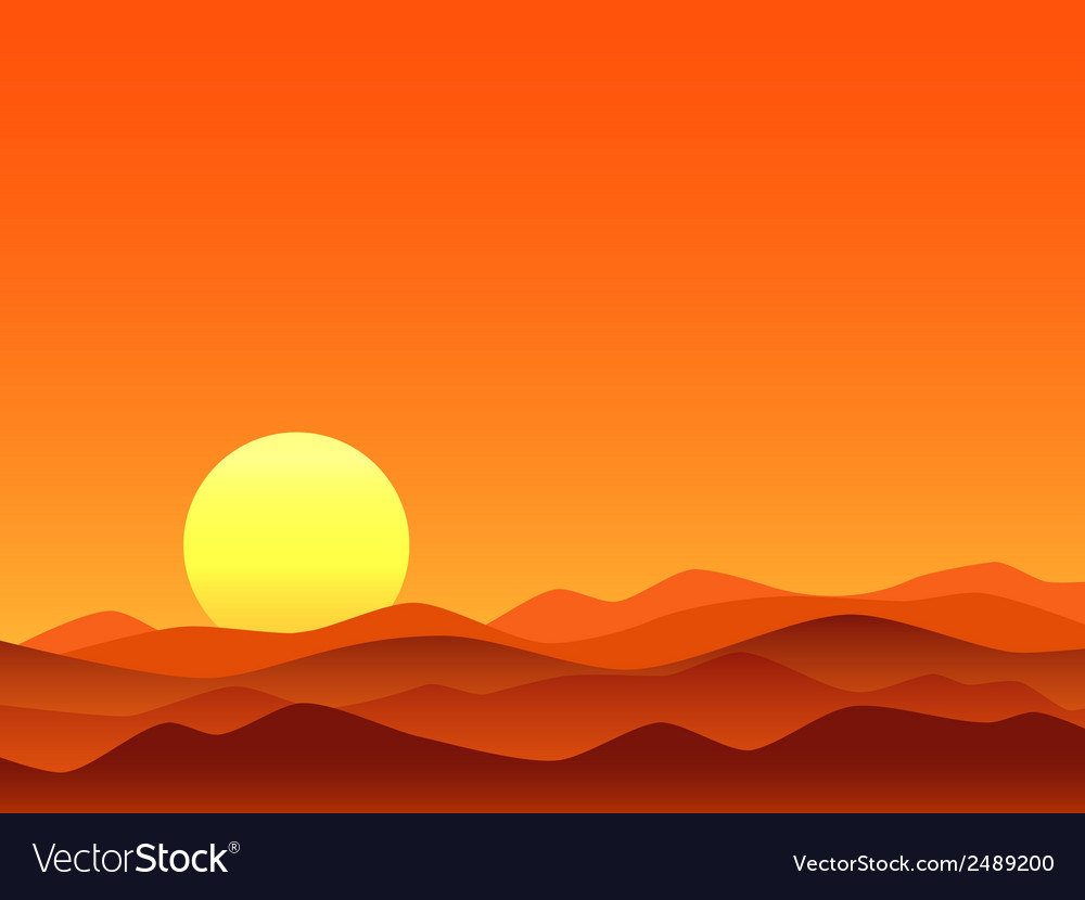 Red desert bright sunrise vector | Price: 1 Credit (USD $1)