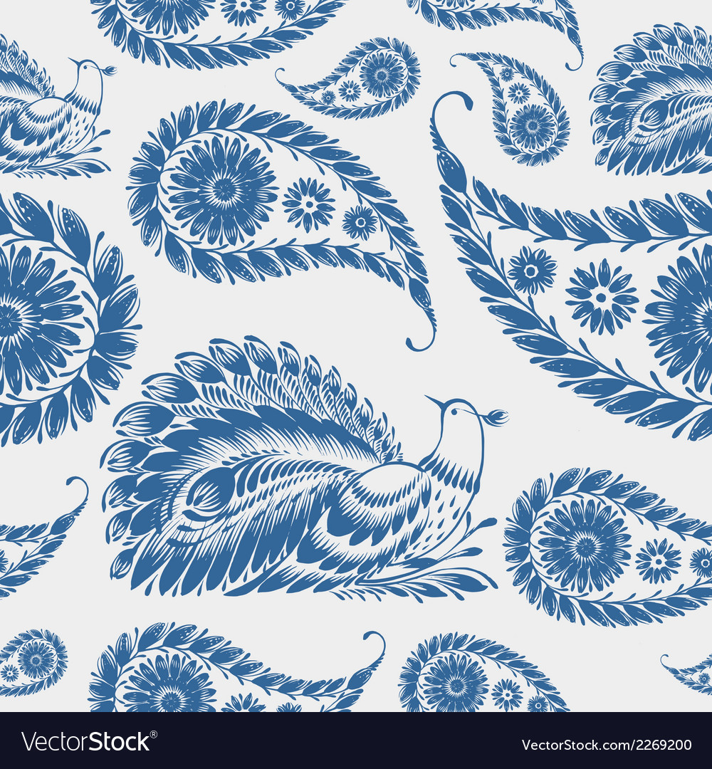 Seamless pattern paisley vector | Price: 1 Credit (USD $1)