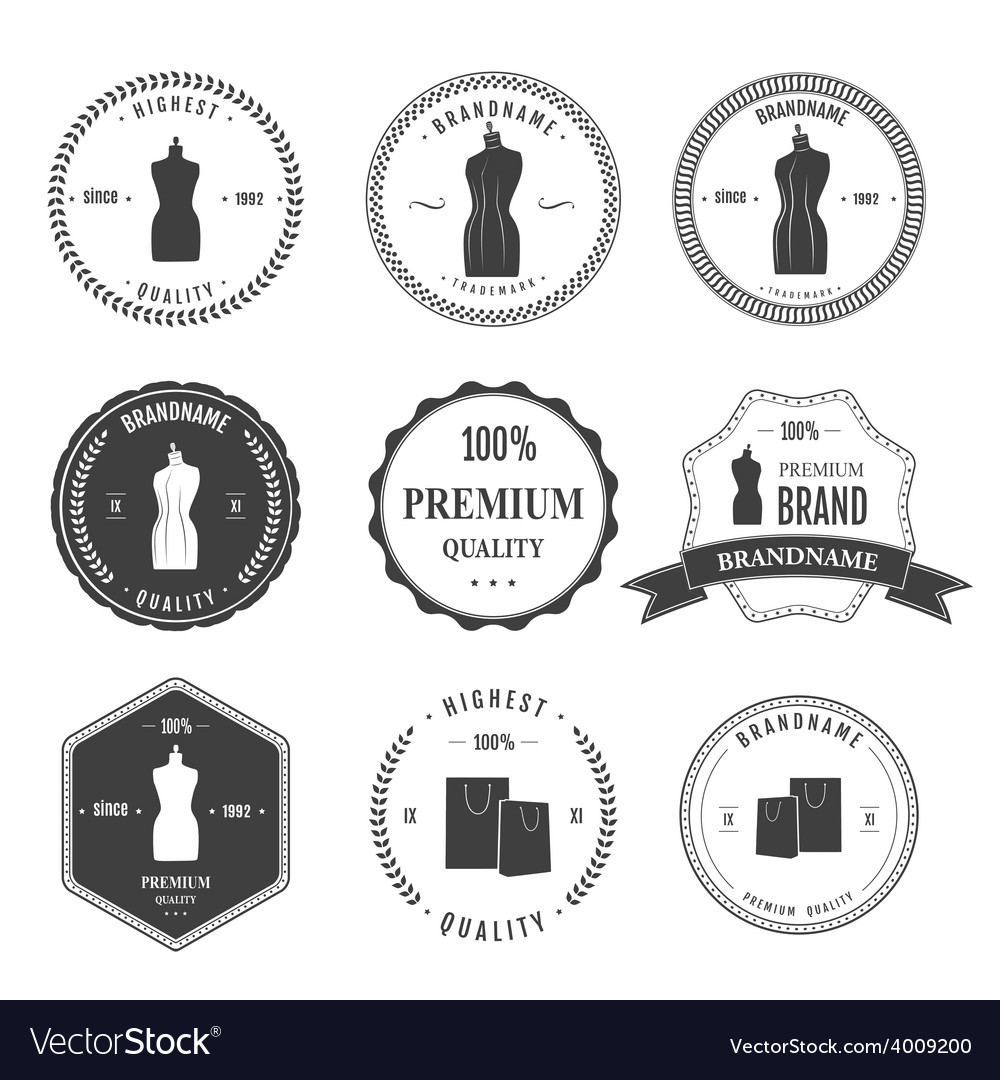 Set vintage retro mannequin shopping badges vector   Price: 1 Credit (USD $1)