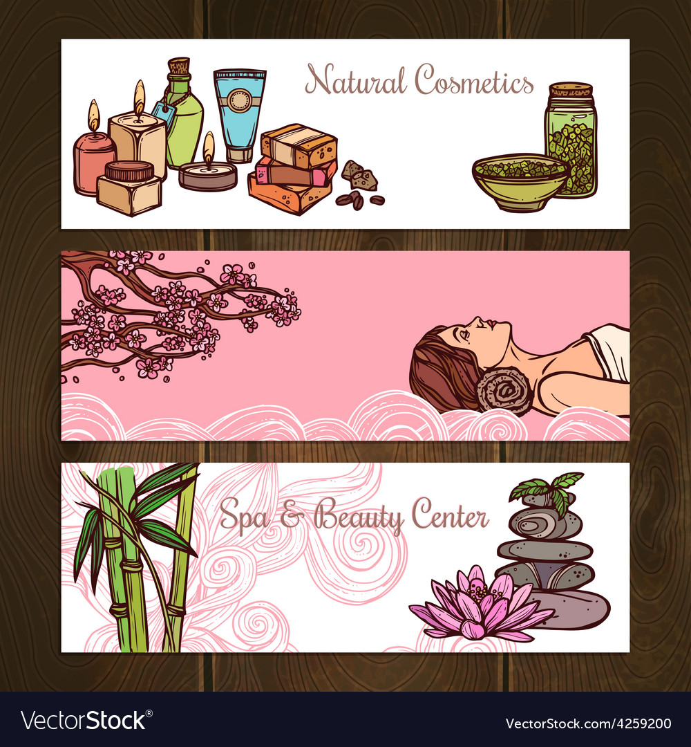 Spa banners set vector | Price: 1 Credit (USD $1)