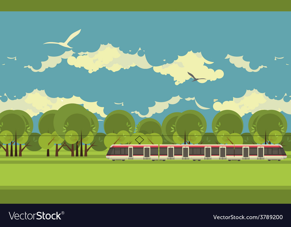 Train in the countryside vector | Price: 3 Credit (USD $3)