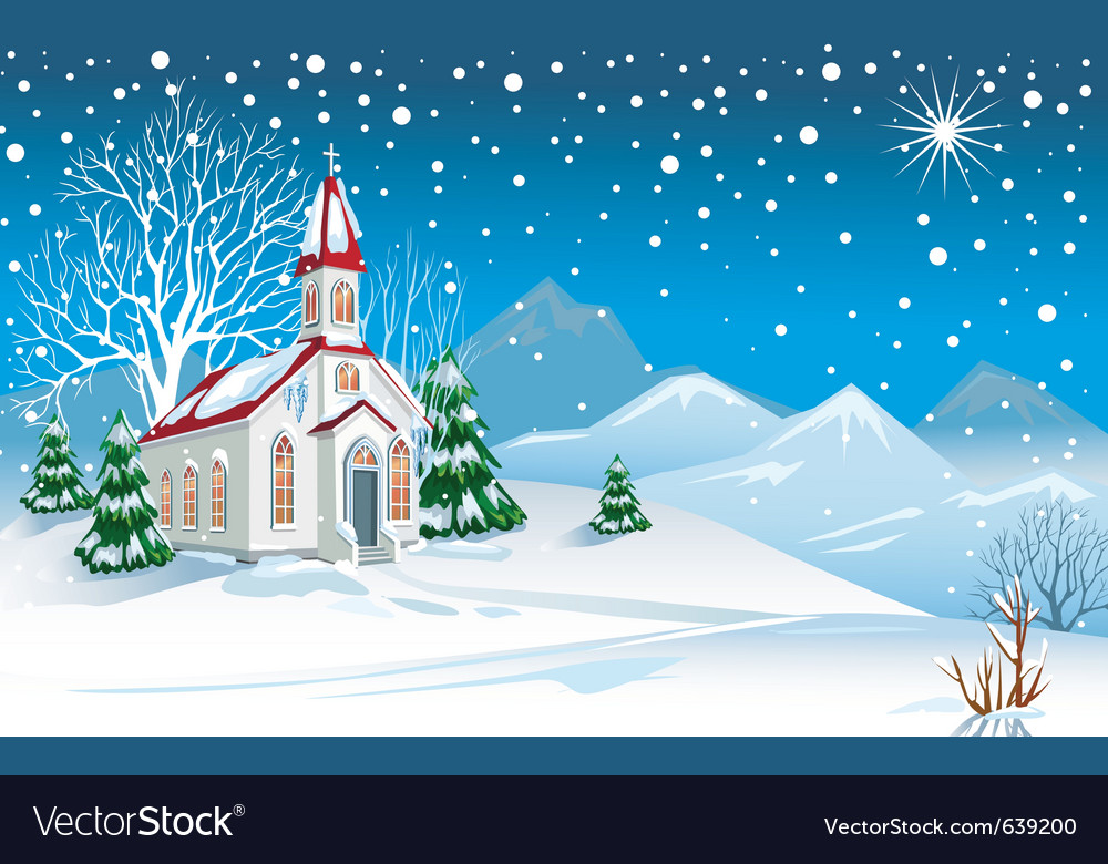 Winter landscape with church vector | Price: 1 Credit (USD $1)