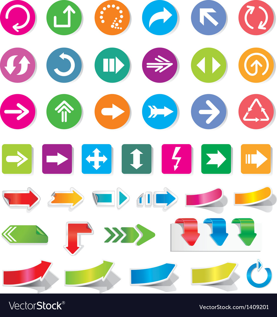 Arrow sign icon set and labels vector | Price: 1 Credit (USD $1)