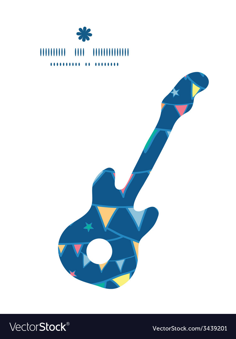 Colorful doodle bunting flags guitar music vector | Price: 1 Credit (USD $1)