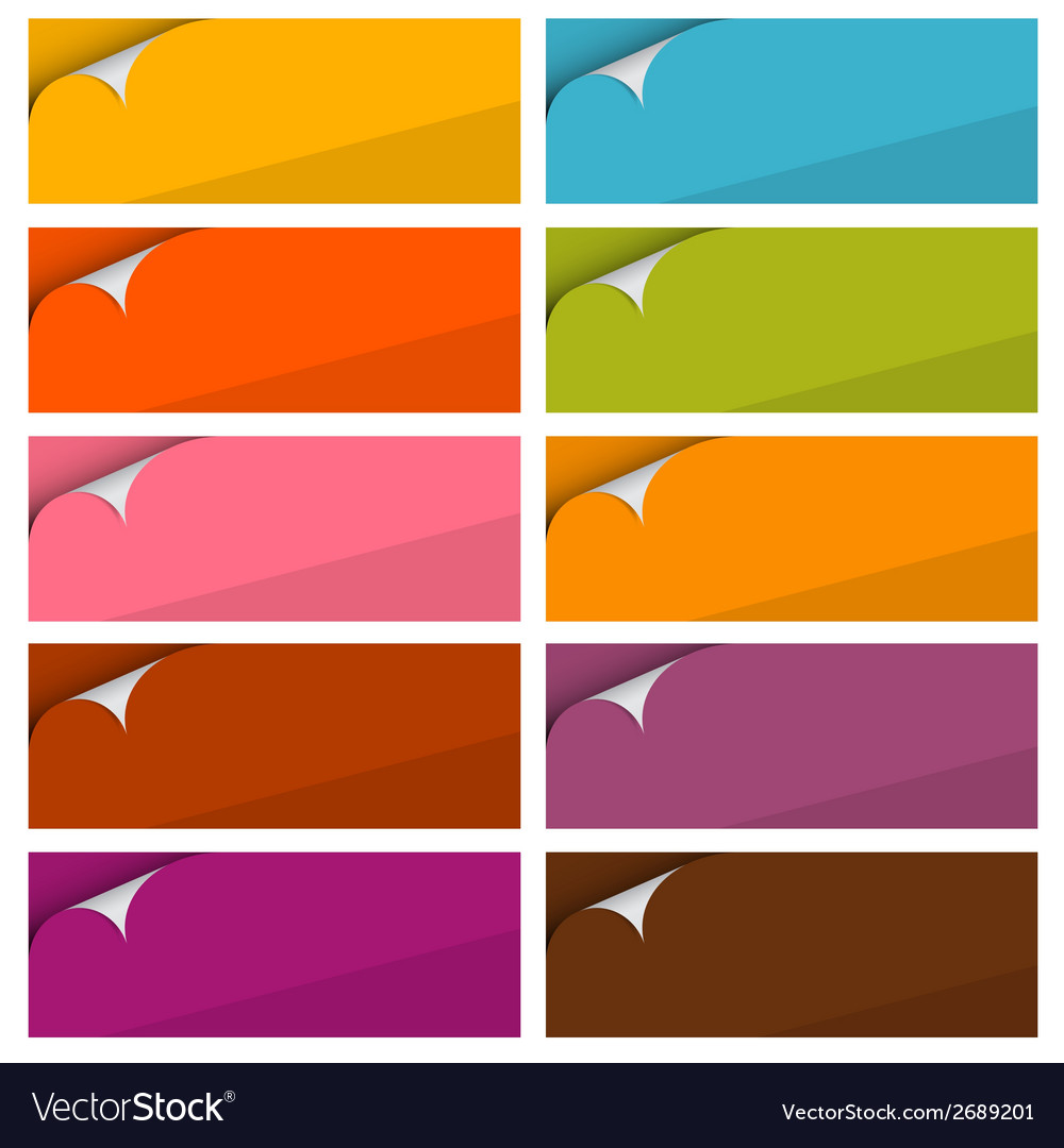 Colorful empty stickers set with bent corner set vector | Price: 1 Credit (USD $1)