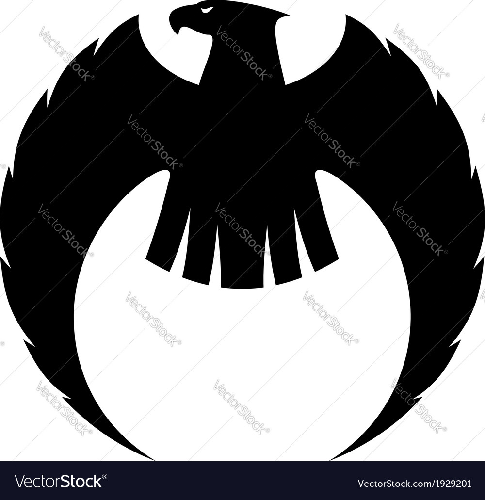 Eagle silhouette with long curved wings vector | Price: 1 Credit (USD $1)