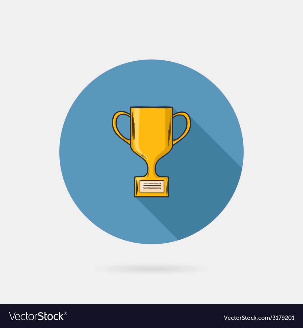 Flat trophy cup on a blue circle conceptual of vector | Price: 1 Credit (USD $1)