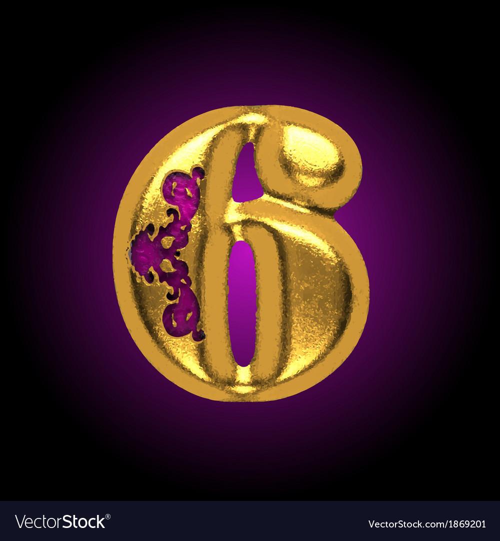 Golden letter 6 vector | Price: 1 Credit (USD $1)