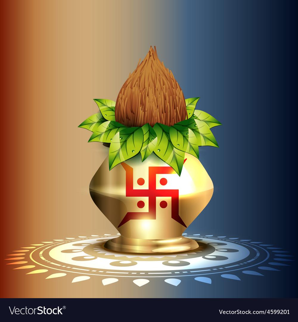 Hindu worship kalash vector | Price: 1 Credit (USD $1)