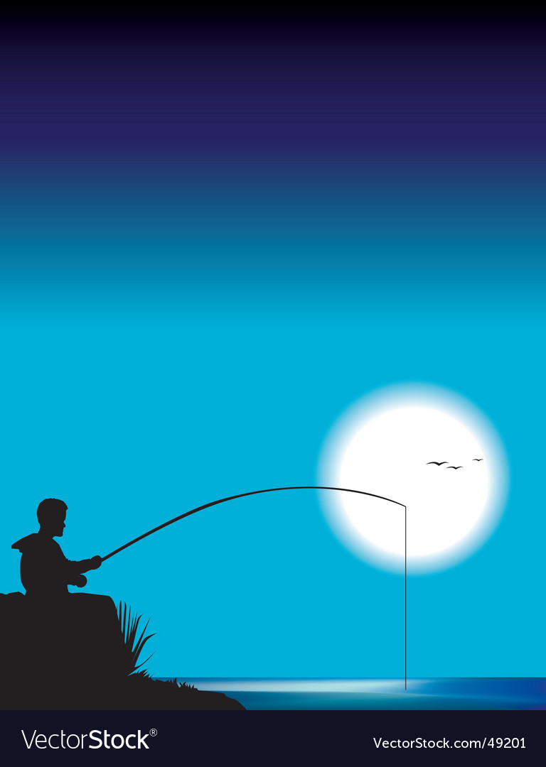 Man fishing vector | Price: 1 Credit (USD $1)