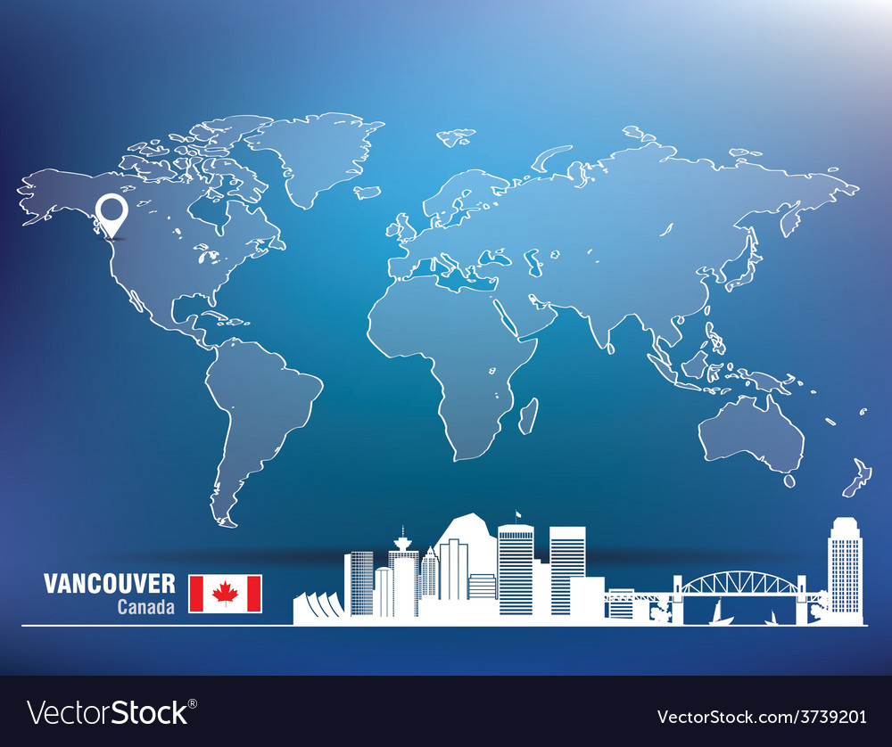 Map pin with vancouver skyline vector | Price: 1 Credit (USD $1)