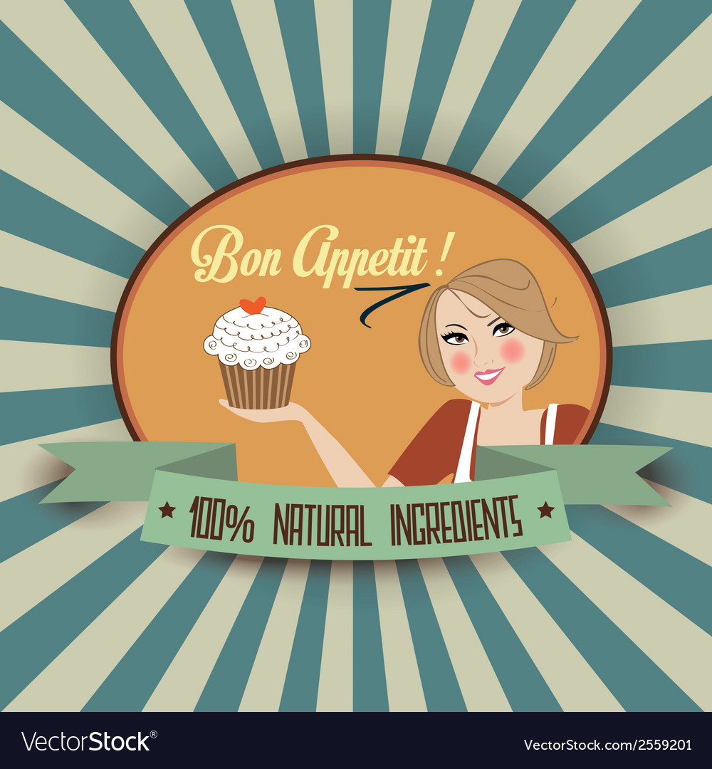 Retro wife with bon appetit message vector | Price: 1 Credit (USD $1)