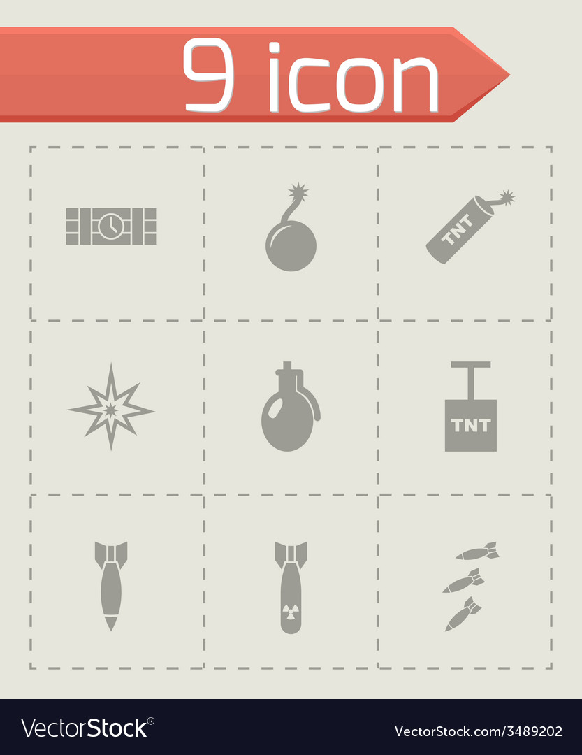 Bomb icon set vector | Price: 1 Credit (USD $1)
