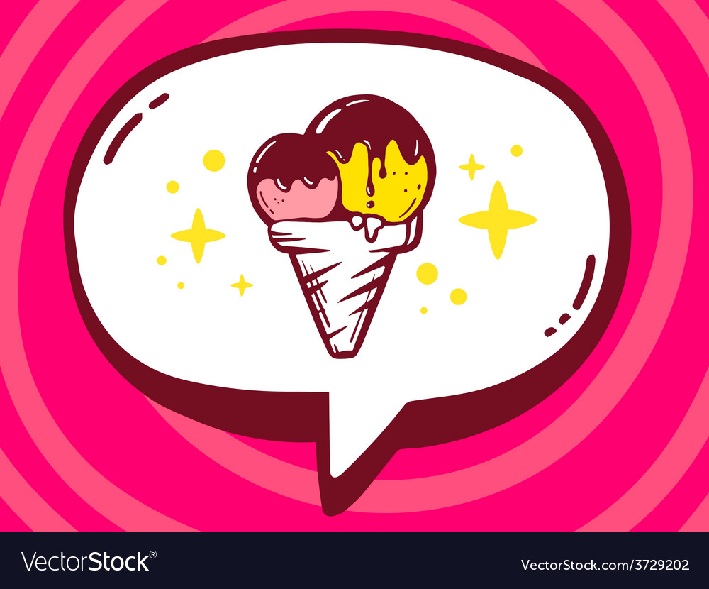 Bubble with icon of ice cream on pink pat vector   Price: 1 Credit (USD $1)