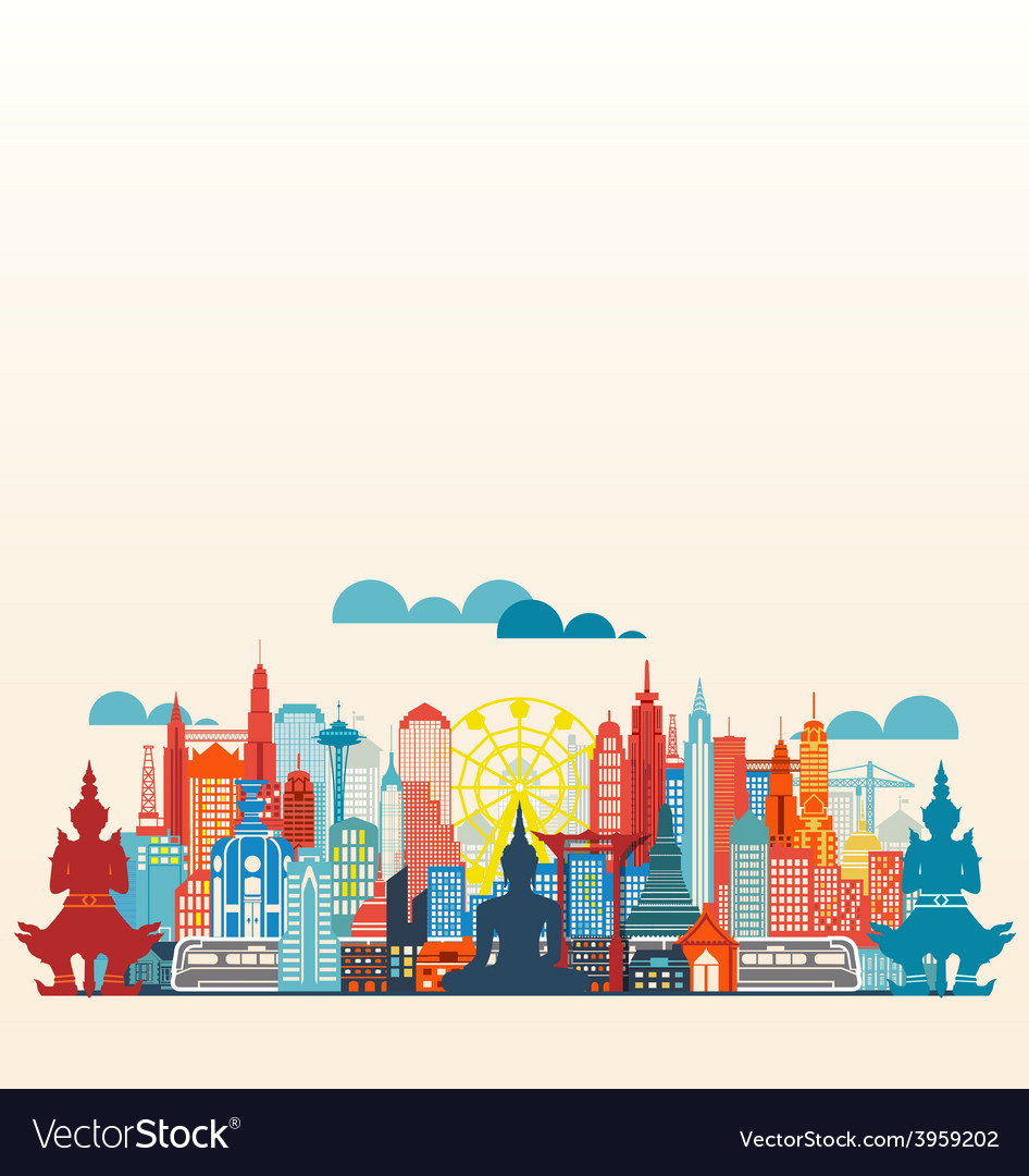Colorful panorama asia city and building vector | Price: 3 Credit (USD $3)