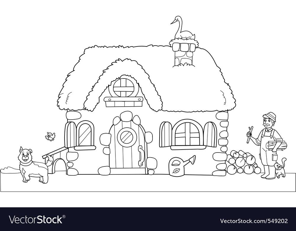 Cute farm coloring image vector | Price: 1 Credit (USD $1)