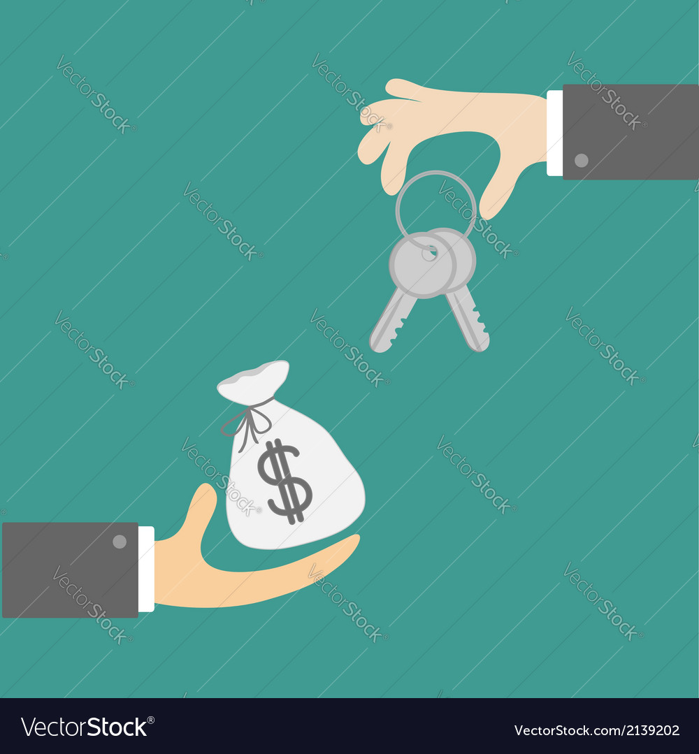 Hands with house and money bag exchanging concept vector | Price: 1 Credit (USD $1)