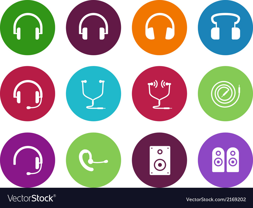 Headphones circle icons on white background vector | Price: 1 Credit (USD $1)