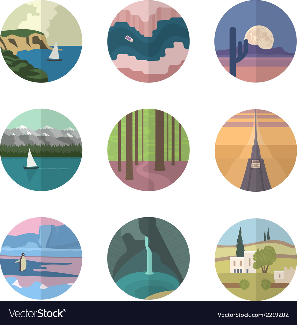 Landscapes icons collection vector | Price: 1 Credit (USD $1)