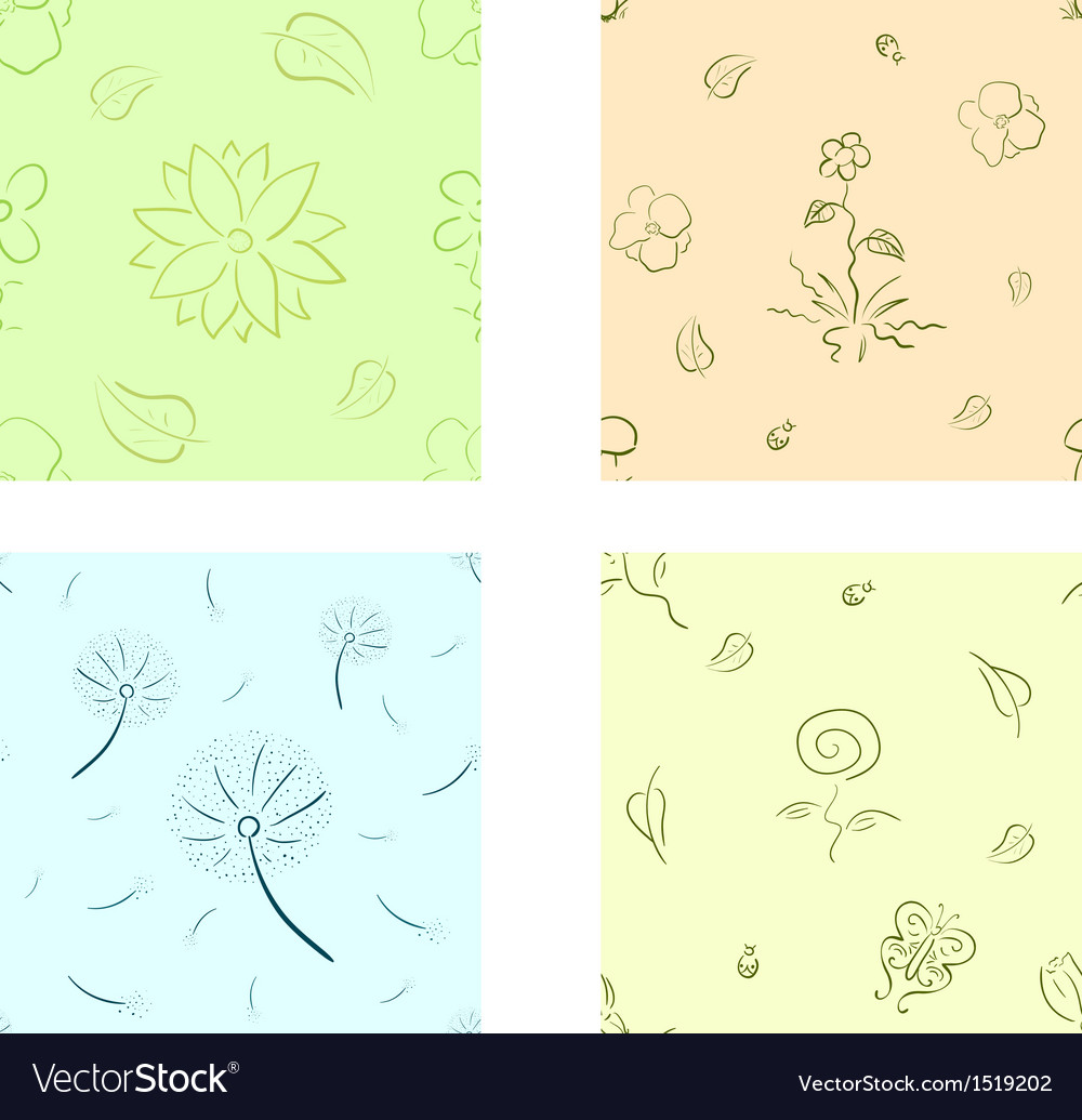 Nature seamless set vector | Price: 1 Credit (USD $1)
