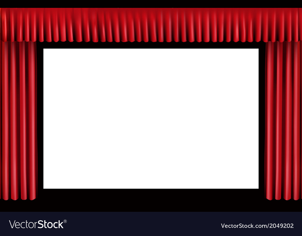 Red curtain blank cinema screen vector | Price: 1 Credit (USD $1)