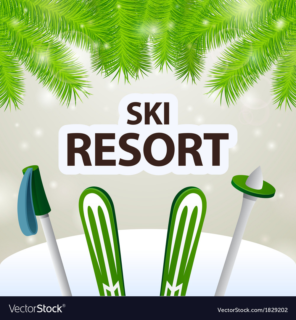 Ski resort skiing and poles vector | Price: 1 Credit (USD $1)
