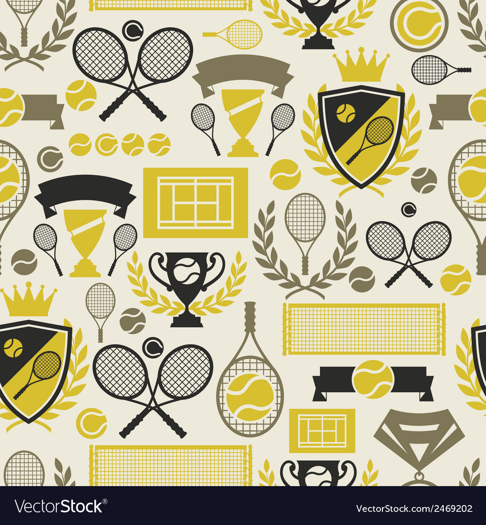 Sports seamless pattern with tennis icons in flat vector | Price: 1 Credit (USD $1)