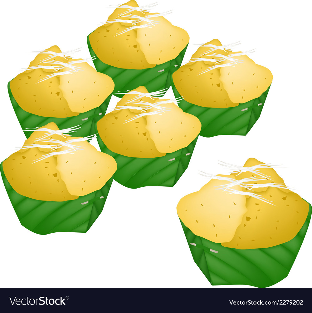 Stack of toddy palm cake in counts banana leaf vector | Price: 1 Credit (USD $1)