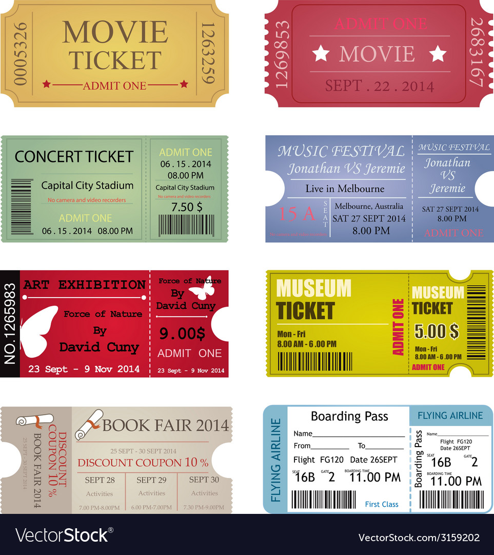 Ticket template designs vector | Price: 1 Credit (USD $1)