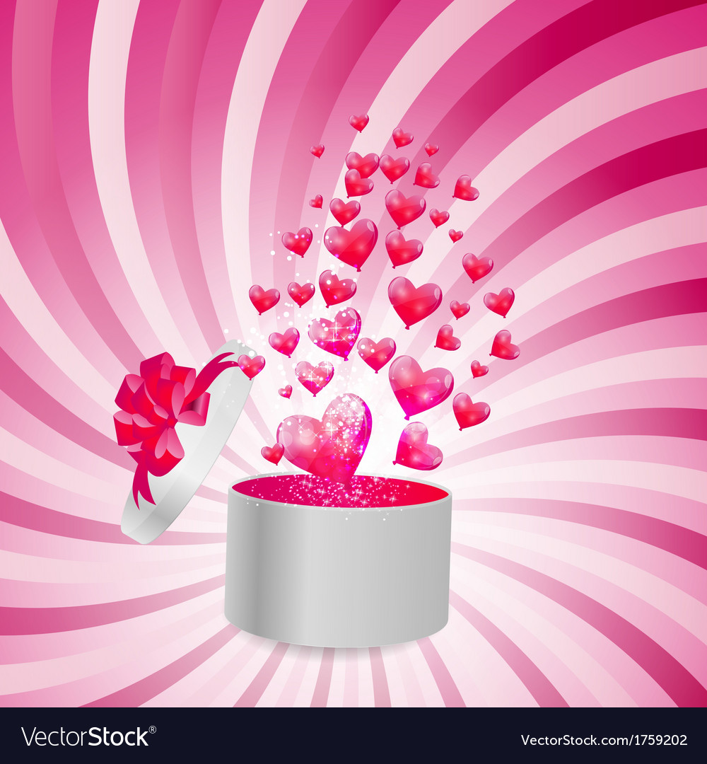 Valentines day card with gift box and heart shaped vector   Price: 1 Credit (USD $1)