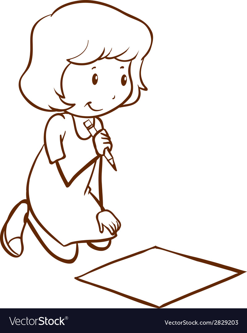A simple drawing of a girl writing vector | Price: 1 Credit (USD $1)