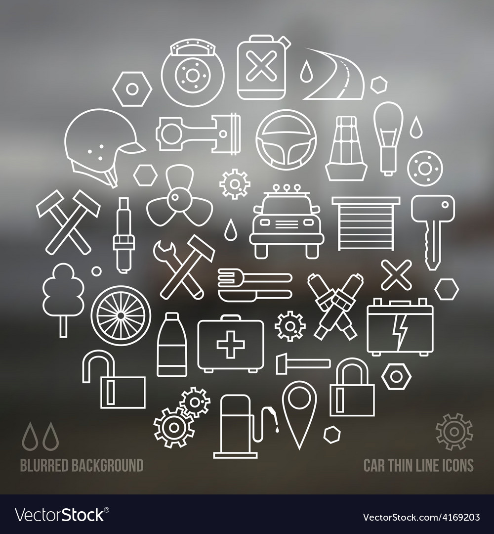 Auto service icons set and blurred background vector   Price: 1 Credit (USD $1)