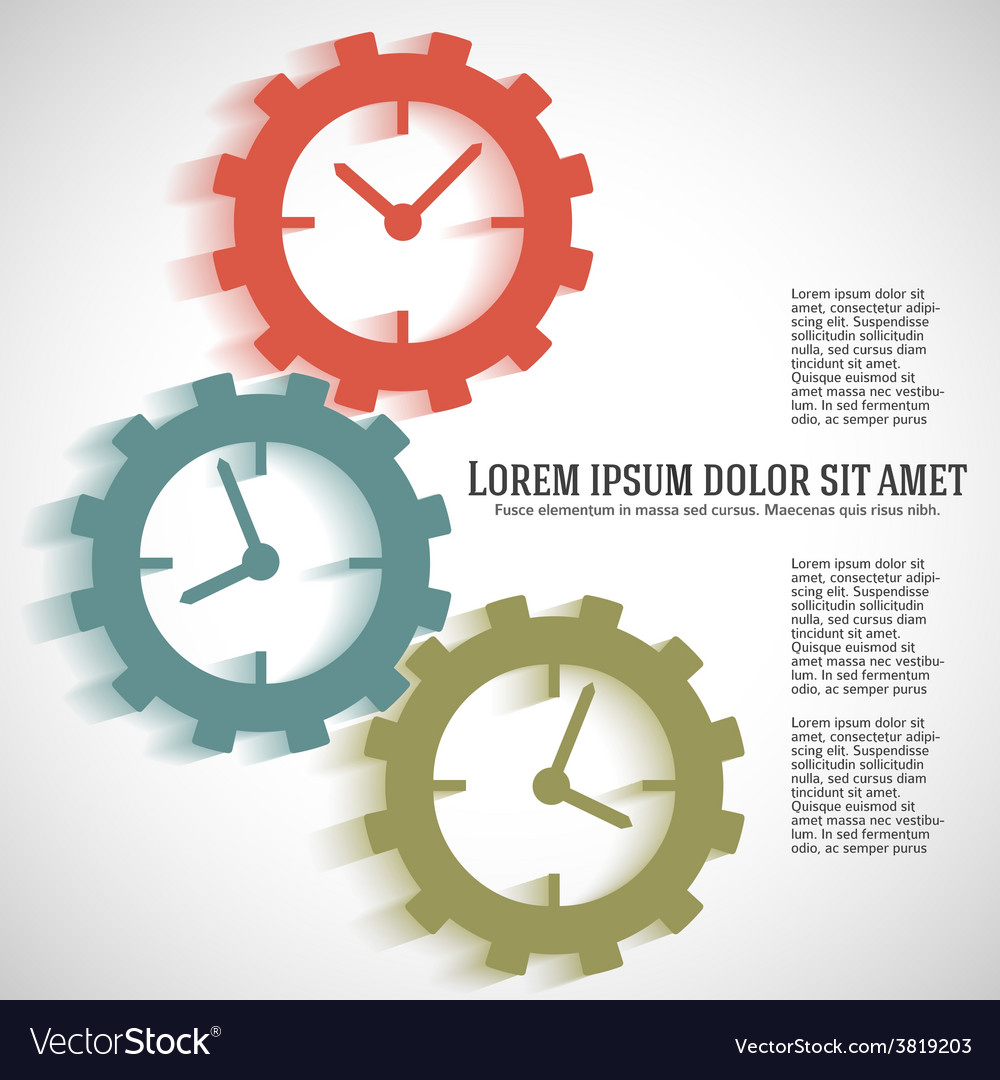 Concept timeline icons clock on gear vector | Price: 1 Credit (USD $1)