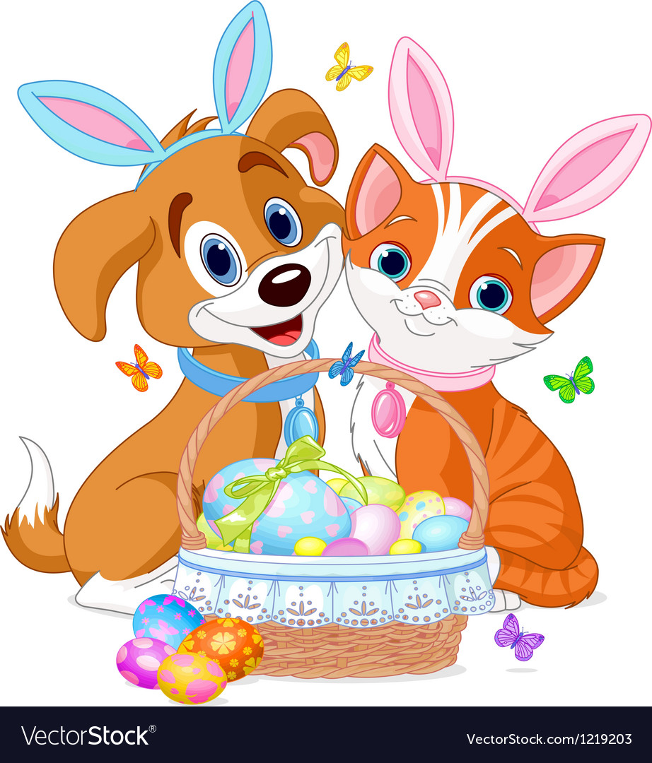 Easter cat and dog vector | Price: 3 Credit (USD $3)
