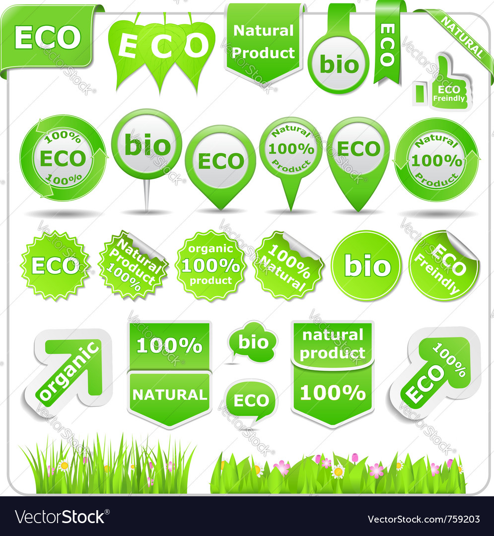 Green eco design elements vector | Price: 3 Credit (USD $3)