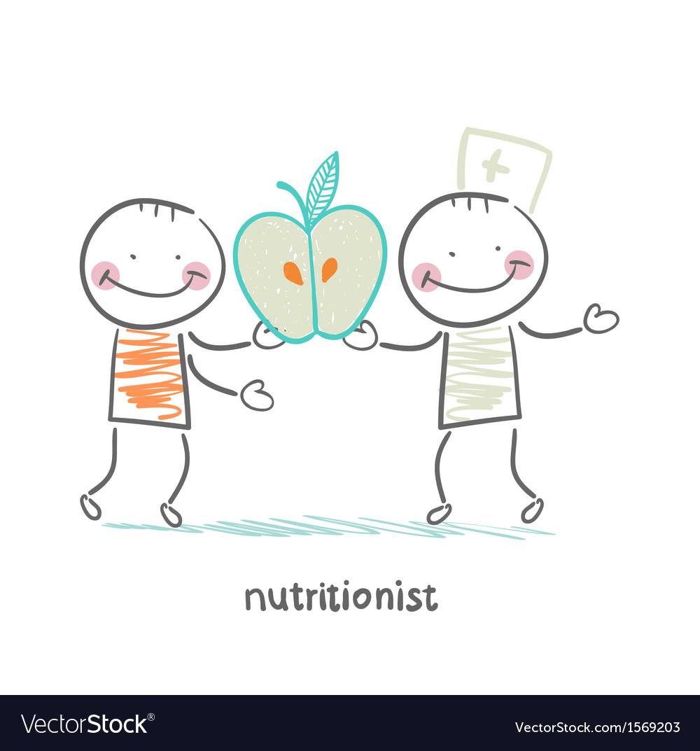 Nutritionist gives the patient an apple vector | Price: 1 Credit (USD $1)
