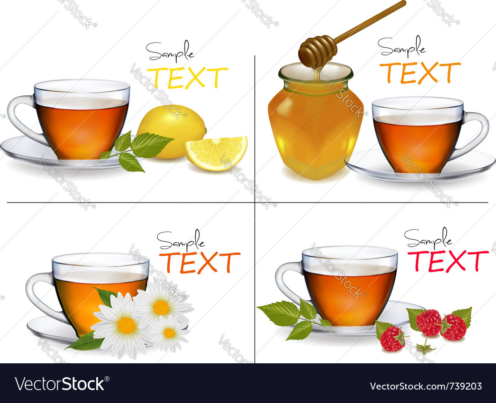 Set of backgrounds with cups of tea vector | Price: 3 Credit (USD $3)
