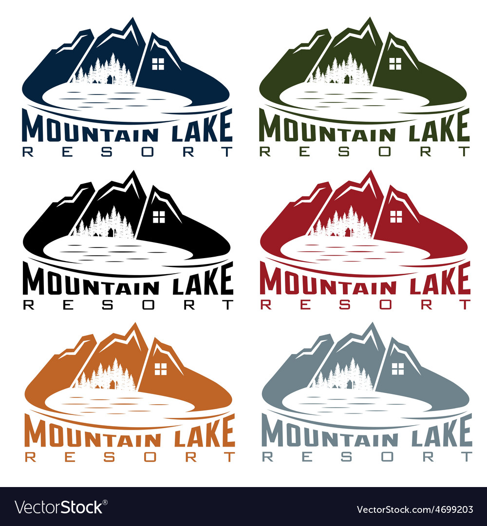 Set of mountaim lake resort vector | Price: 1 Credit (USD $1)