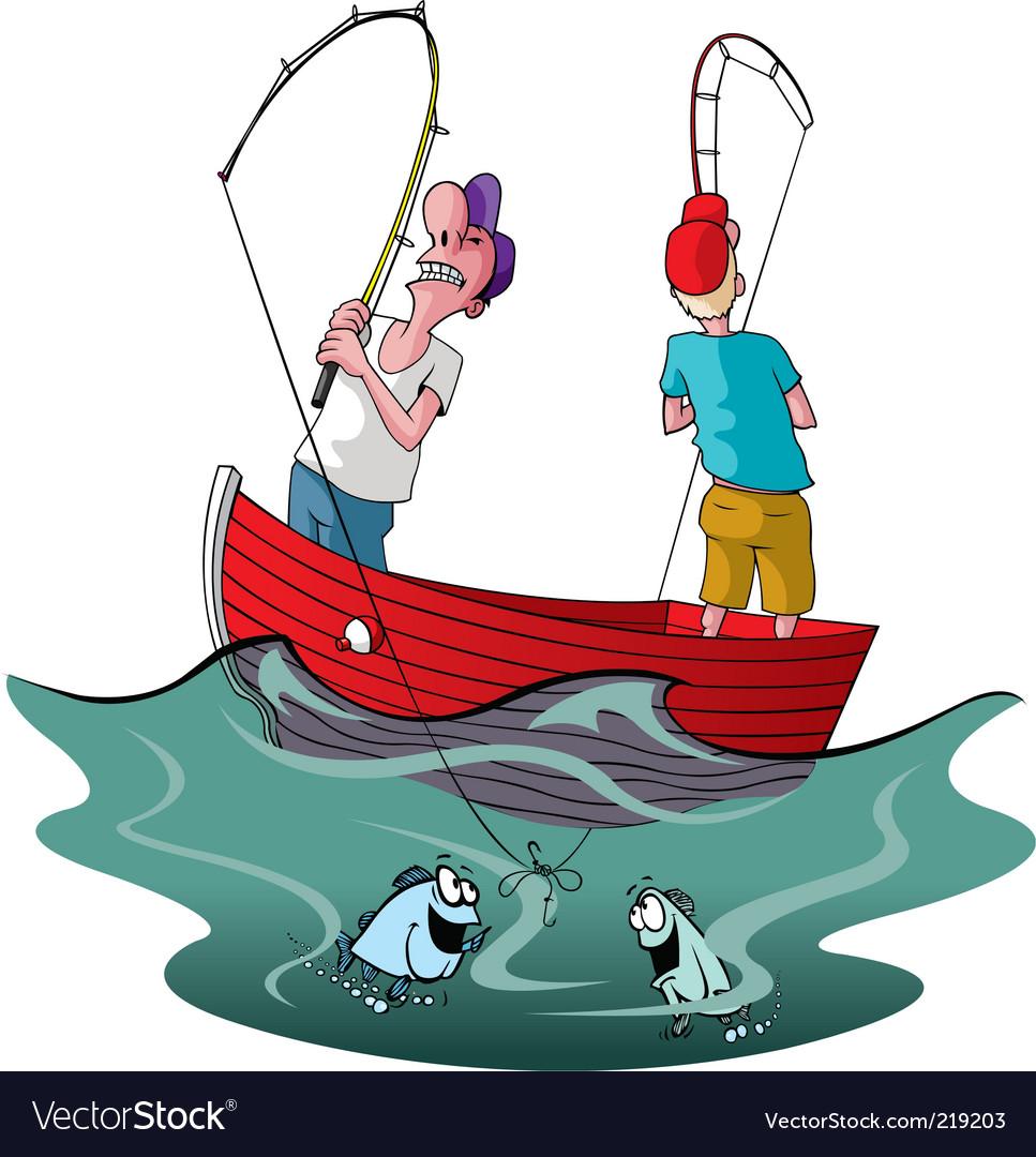 Tangled up fishermen vector | Price: 3 Credit (USD $3)