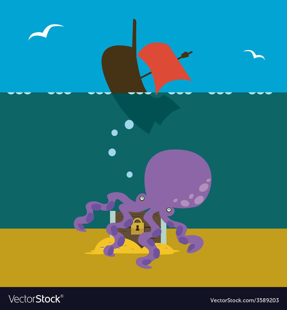 Underwater treasures keeper vector | Price: 1 Credit (USD $1)