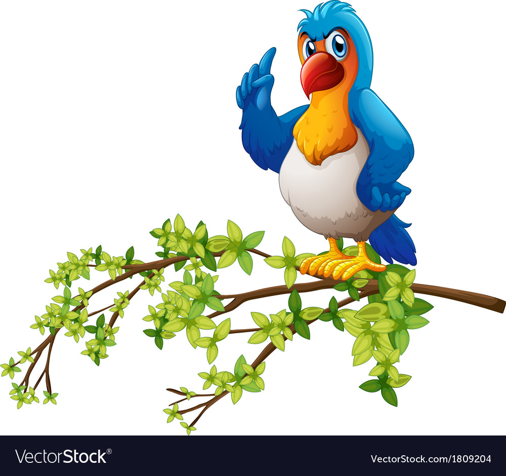 A parrot above the branch of a tree vector | Price: 1 Credit (USD $1)
