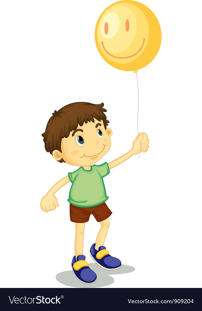 Boy and balloon vector | Price: 3 Credit (USD $3)