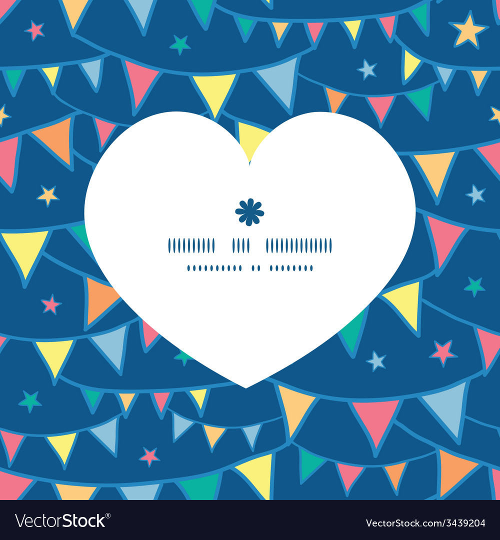 Colorful doodle bunting flags heart silhouette vector | Price: 1 Credit (USD $1)