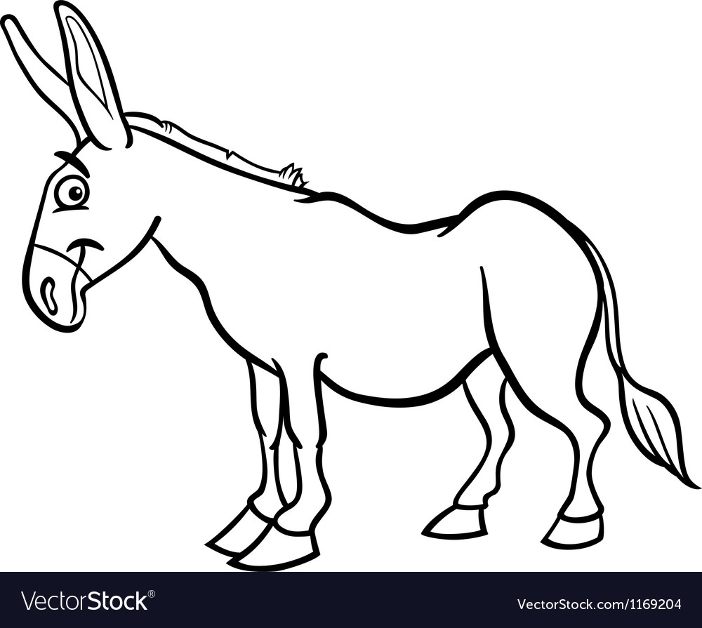 Farm donkey cartoon for coloring book vector | Price: 1 Credit (USD $1)