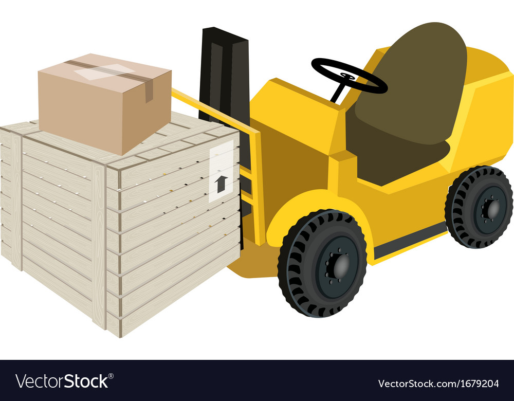 Forklift truck loading shipping box vector | Price: 1 Credit (USD $1)