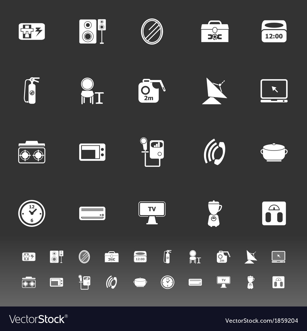 House related icons on gray background vector | Price: 1 Credit (USD $1)