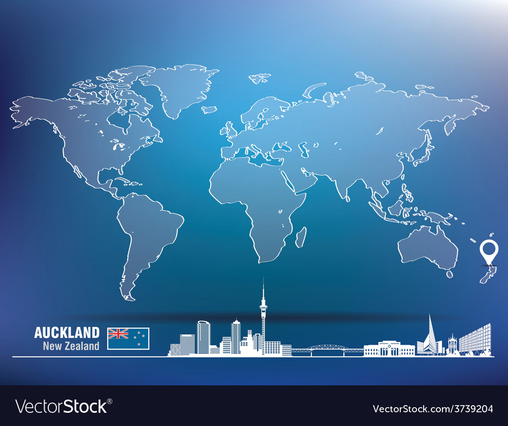 Map pin with auckland skyline vector | Price: 1 Credit (USD $1)